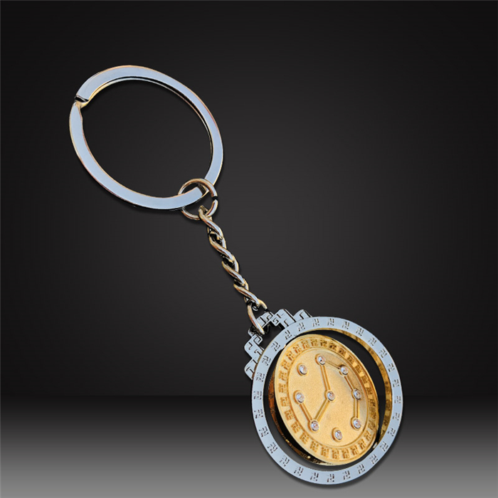custom spinning keychains two tone plating