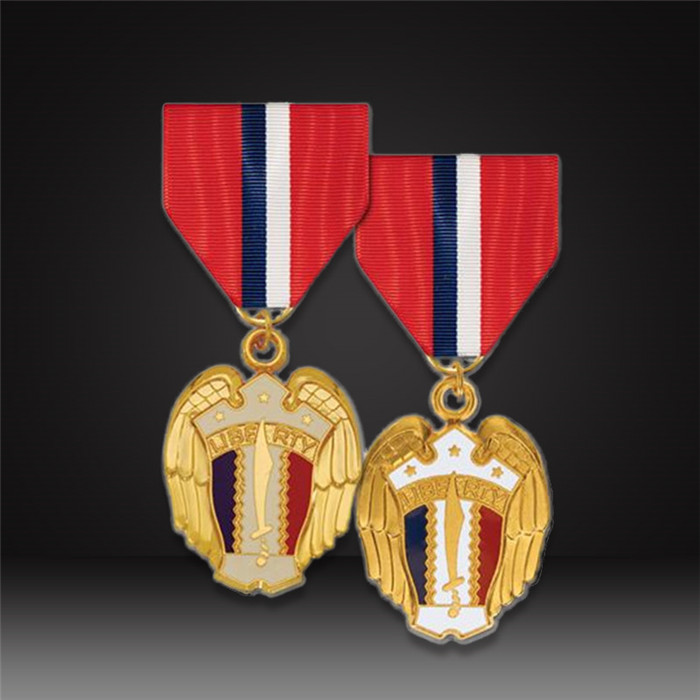 custom service medal with short ribbon