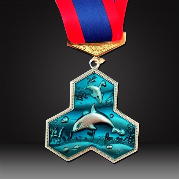 Marine themed dolphin marathon medal