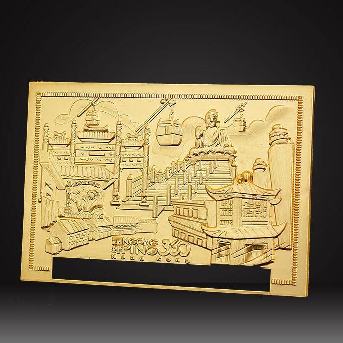 gold brass custom metal logo plate