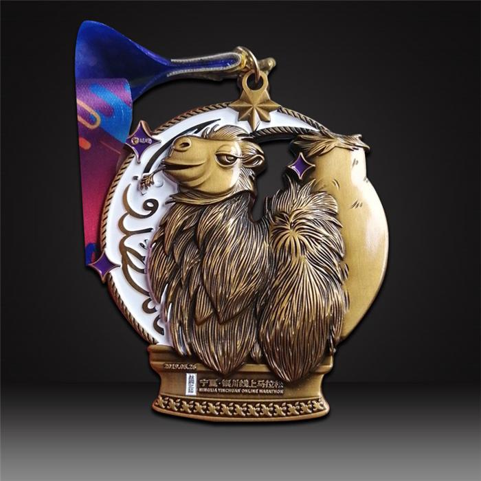3D Antique gold running medals