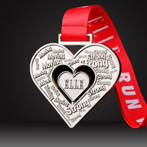 custom spinning medals hart shape