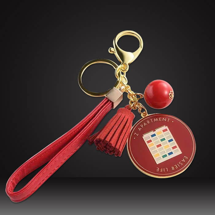 red leather custom tassel keychains with enamel tag pink