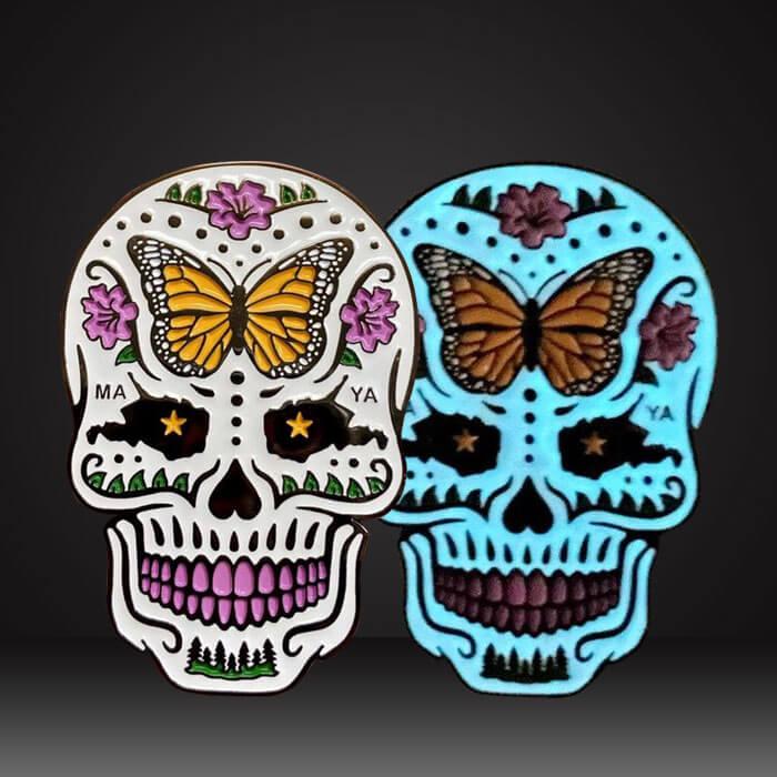Personalized skull luminous lapel pin