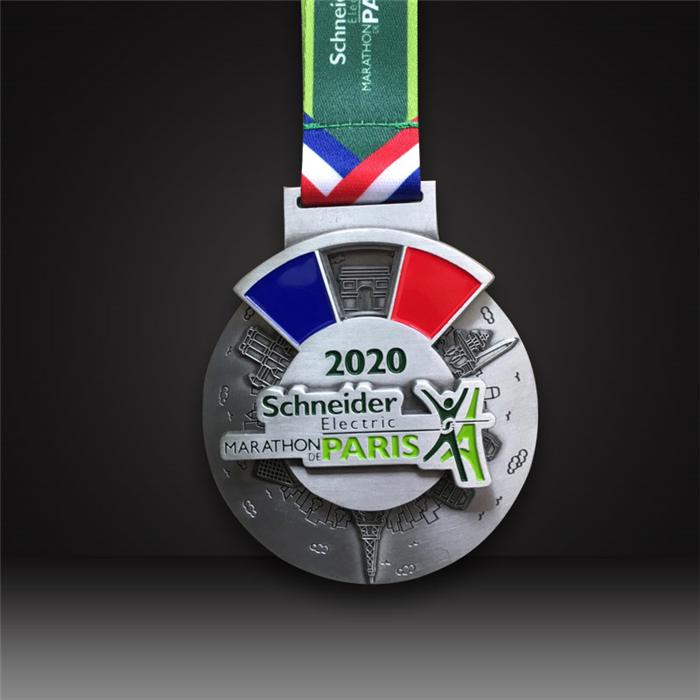 custom marathon medals Antique silver