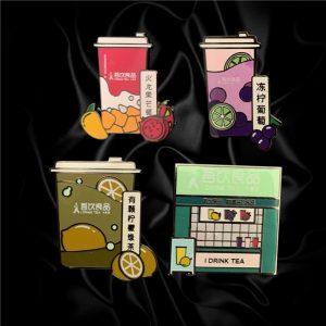 fruit tea lapel pins for shop