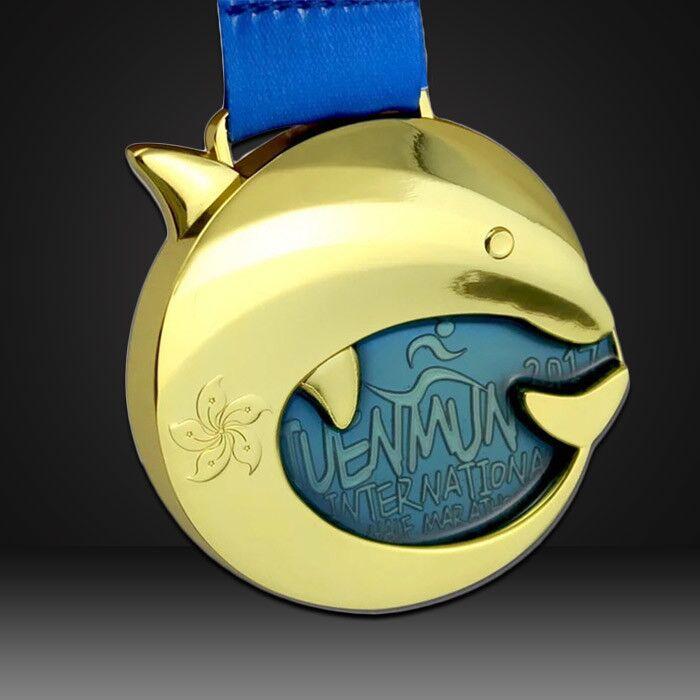 custom medals dolphin 3D gold finish