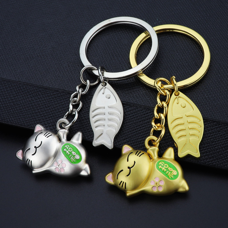 3D cat and fish Keychain