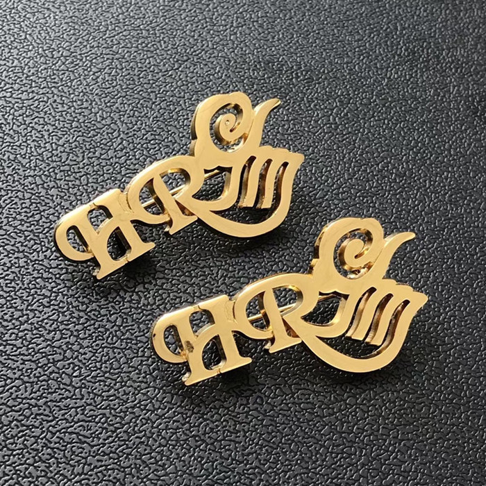 cut out letter lapel pins with safety pins