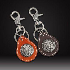 Custom leather keychainswith custom metal logo