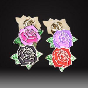 rose flower soft enamel pins