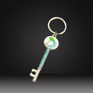 gold Custom shaped keychains for Real estate agency
