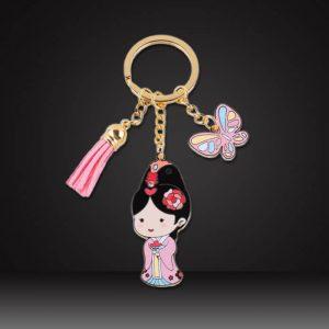 custom tassel keychains with cartoon tag pink