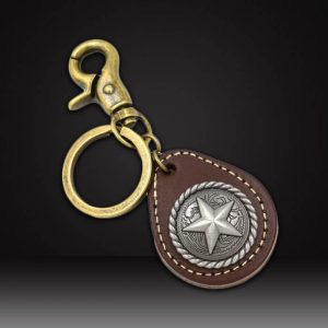 Custom leather keychains with metal tag