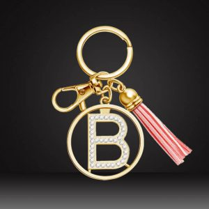 cutom tassel keychains with metal tag diamond