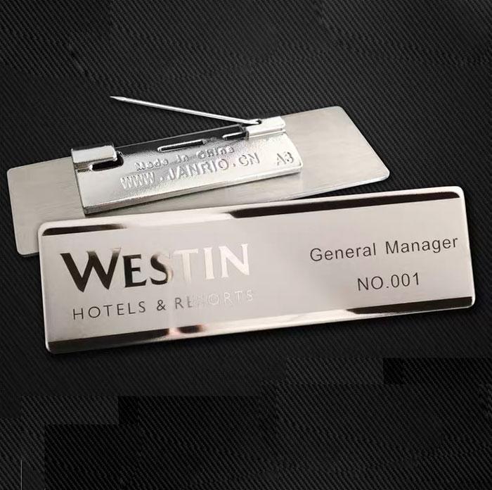 silver custom name tags