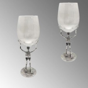 Wine glass with metal base