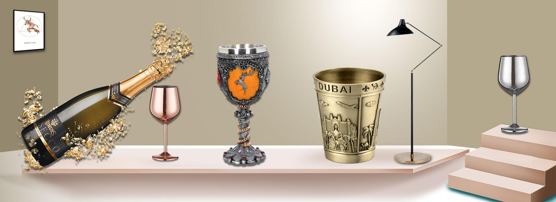 custom metal wine glass
