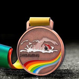custom swimming medals copper