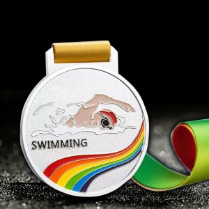 custom swimming medals silver